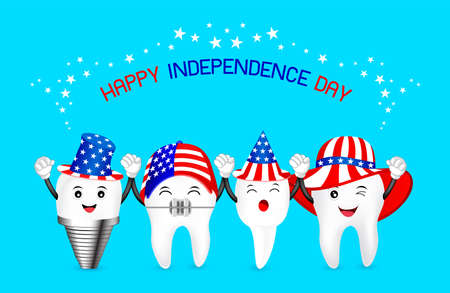 Cute cartoon tooth with American hat. concept for patriotism in America and celebration of independence day and the fourth of july for the United States. illustration. Stock Vector - 79739291