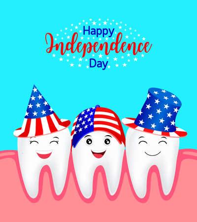 미국의 모자와 함께 귀여운 만화 치아입니다. 미국의 애국심을위한 개념과 독립 기념일 축하와 미국을위한 7 월 4 일의 축하. 삽화.