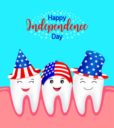 Cute cartoon tooth with American hat. concept for patriotism in America and celebration of independence day and the fourth of july for the United States. illustration.