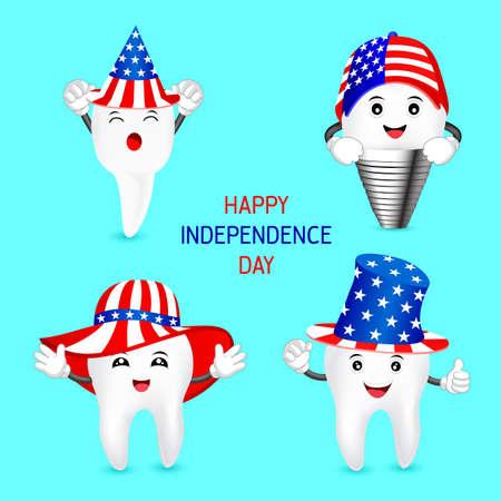 미국의 모자와 함께 귀여운 만화 치아의 집합입니다. 미국의 애국심의 개념과 독립 기념일 축하와 미국의 7 월 4 일을 축하합니다. 삽화.