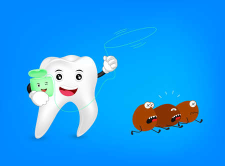 Cute cartoon tooth character with loop of dental floss.Aattacking bacteria. Dental care concept, illustration isolated on blue background.