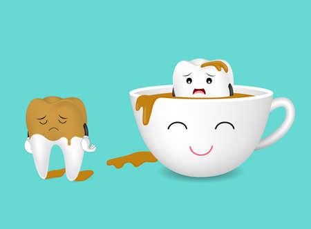 치아 문자와 커피 한잔입니다. 커피가 이빨을 노랗게합니다. 치과 치료 개념, 재미 있은 그림입니다.
