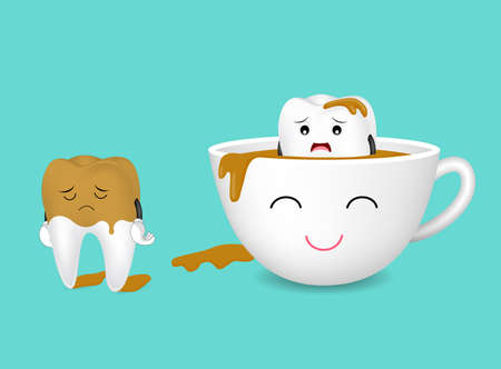 Tooth character and cup of coffee. Coffee makes your teeth yellow. Dental care concept, funny  illustration.