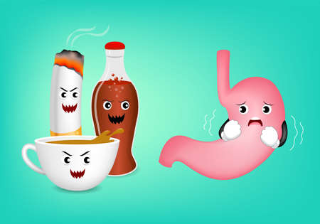 gastritis: Cute cartoon stomach character fear acid of coffee, aerated soft drink and cigarette. Healthy internal organ concept. Illustration isolated on green background.