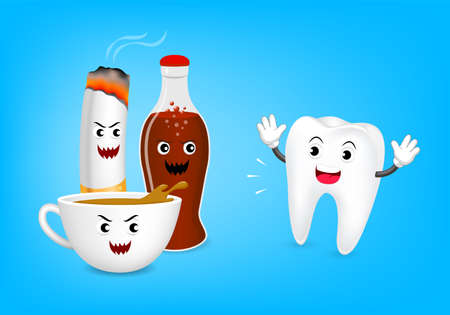 aerated: Cute cartoon tooth character fear acid of coffee, aerated soft drink and cigarette. Dental care concept, illustration isolated on blue background.