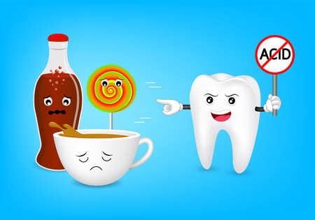 Cute cartoon tooth character holding no acid sign. Acidic food and drink, coffee, aerated soft drink and candy. Dental care concept, illustration isolated on blue background.