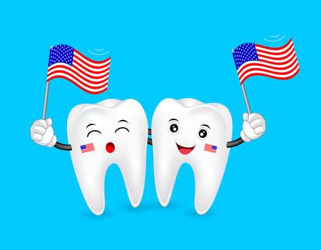 귀여운 만화 치아 문자 미국 국기를 흔들며입니다. 행복한 독립 기념일. 파란색 배경에 고립 된 그림입니다.
