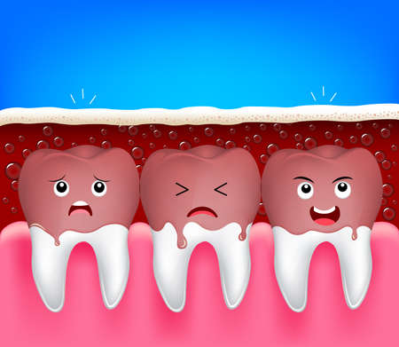 aerated: teeth problem of aerated soft drink. Cute cartoon tooth characters, funny illustration. Dental care concept.