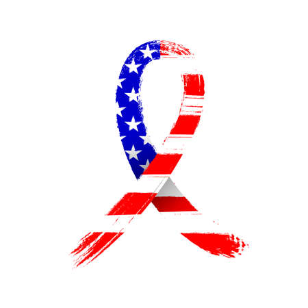 Hand drawn usa ribbon flag. Symbol of patriotism. Brush style illustration isolated on white background. Design for poster, greetingcard and t-shirt.