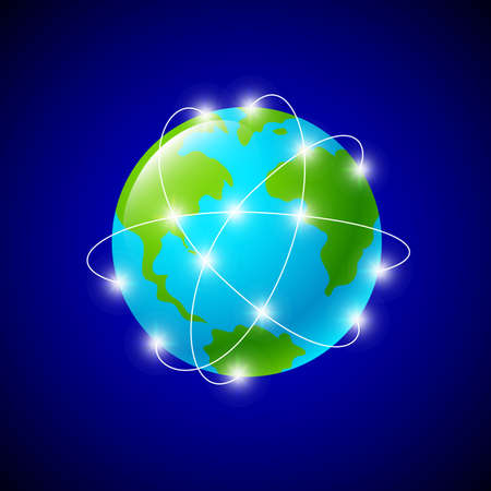 Internet connections and network around the globe, Represented by a global international sphere showing the communications amongst cities and continents around the world, Icon design, illustration on blue background.