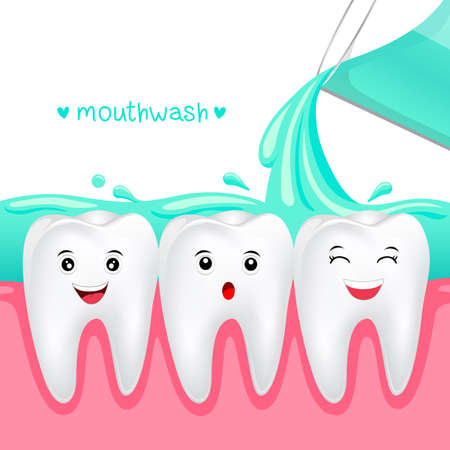 Cute cartoon tooth with mouthwash Dental care concept Illustration isolated on white background