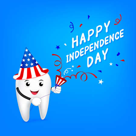 Cute cartoon tooth character with papershoot. Happy USA Independence Day 4th of July.  Great for Dental care concept, illustration on blue background.