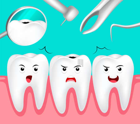 preventive: Cartoon decay tooth scared dental equipment. Dental care concept. Illustration on green background.