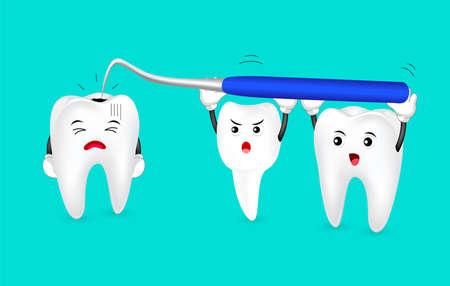 漫画崩壊歯は、歯科用機器を怖がっています。歯科治療のコンセプトです。緑の背景に分離の図。