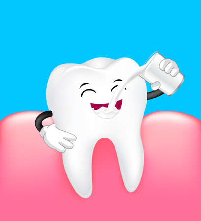 Cute cartoon tooth character drinking milk with gum. Dental  care concept. Illustration isolated on blue background.