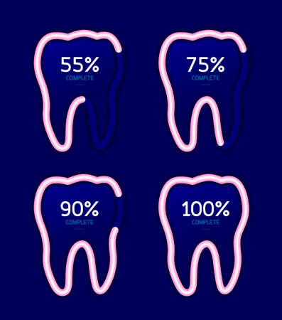 greet: Set of loading icon in tooth shape. Dental care concept. Vector illustration isolated on blue blackground.