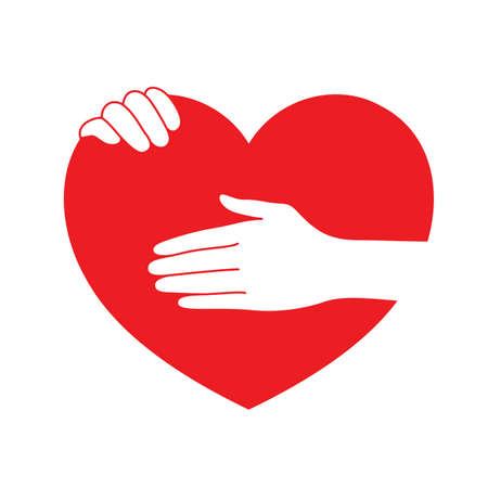 Hands holding red heart. icon design in flat style. concept  of supporting, vector illustration isolated on white background.
