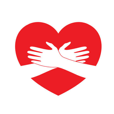 Holding hands on red heart. icon design in flat style. concept  of supporting, vector illustration isolated on white background.