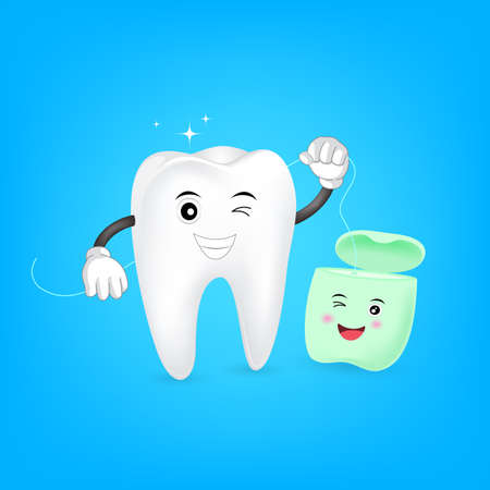 Cute cartoon tooth cleaning itself by dental floss. Dental care concept. Illustration isolated on blue background. Illustration