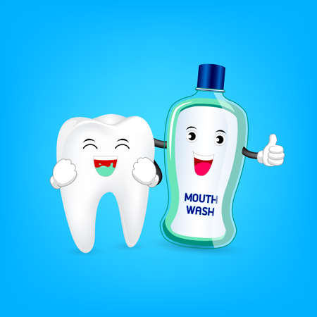 habit: Cute cartoon tooth cleaning mouth by mouthwash . Dental care concept. Illustration isolated on blue background.
