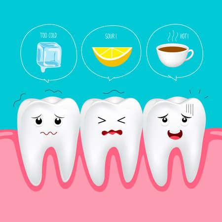 Cute cartoon sensitive teeth character.