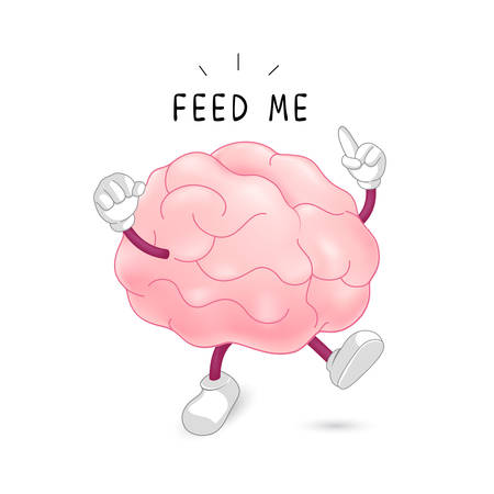Brain character with feed me sign. Food for thought concept. Illustration isolated on white background.
