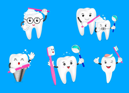 Set of cute cartoon tooth holding toothbrush. Dental care concept. Illustration isolated on blue background. Illustration