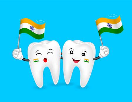 インドの国旗を振ってのかわいい漫画歯のキャラクター。ハッピー独立記念日。青の背景に分離したの図。