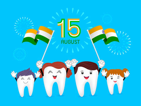 Cute cartoon family tooth character waving india flag. Happy Independence Day. Illustration isolated on blue background.