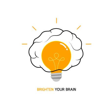 Light bulb in brain, icon design. Creative brain Idea,  brighten your brain concept. Vector illustration isolated on white background. Illustration