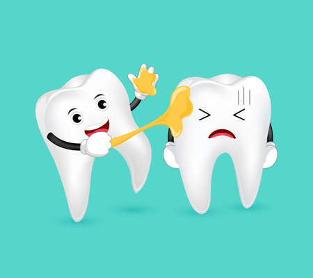 Some sweets sticked on funny cartoon tooth character. Illustration