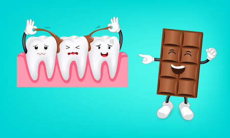 Some chocolate stick between tooth. Funny cartoon character. Dental care concept. Illustration isolated on green background. Illustration