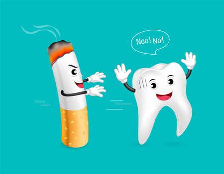 part of me: Diente saludable huye del cigarrillo. Personaje de dibujos animados lindo. Concepto de cuidado dental, ilustración aislada sobre fondo verde.