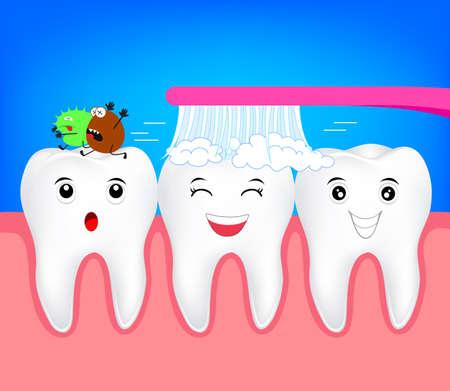 Dent de personnage de dessin animé heureux avec brosse à dents. Tuer les bactéries dans le concept de la bouche. Illustration pour les soins dentaires.