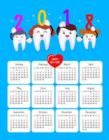 Dental calendar. Happy new year 2018 with cute cartoon tooth family. Illustration isolated on blue background. Week starts Sunday.