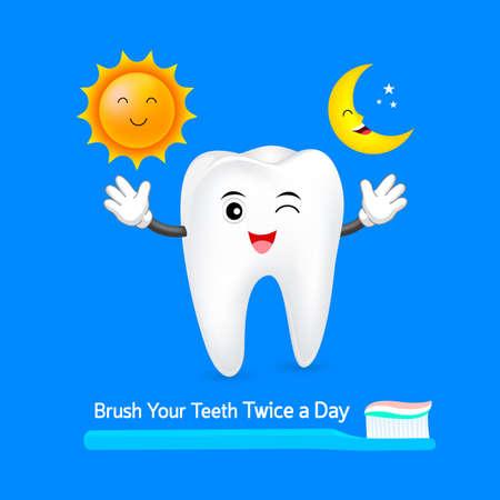 Caractère des dents avec le soleil et la lune. Brossez vos dents deux fois par jour, un concept quotidien de soins dentaires. Illustration isolée sur fond bleu. Banque d'images - 83940336