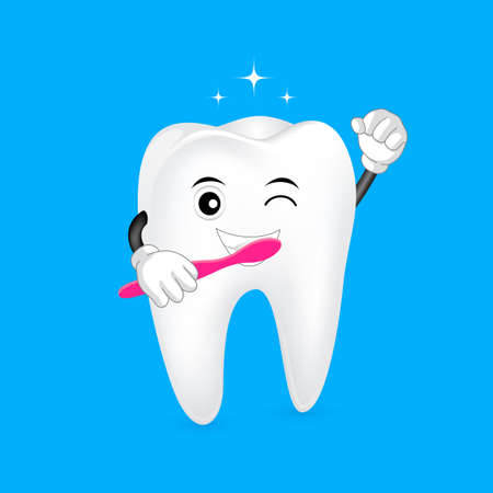 Cute cartoon tooth character holding a toothbrush. Brush your teeth twice a day, daily dental care concept. illustration isolated on blue background. Illustration