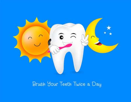 태양과 달 치아 문자입니다. 매일 치아 관리 개념을 하루에 두 번 닦으십시오. 파란색 배경에 고립 된 그림입니다.