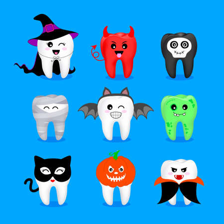 Set of Halloween tooth characters. Emoticons with different facial expressions. Funny dental care concept. Illustration isolated on blue background. Vettoriali