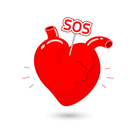 adverse: Human heart symbol with sos sign. Internal organ requires care or medical treatment due to disease or impact of adverse on health. health care concept. Illustration isolated on white background.