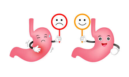 Cute cartoon stomach character holding sign of emotional face. Healthy and unhealthy with smile and scowl. Health care concept. Illustration isolated on white backgrouund.