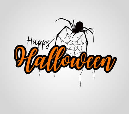 Happy Halloween lettering design. Holiday calligraphy with spider and web, isolated on gray background. For poster, banner, greeting card, invitation.