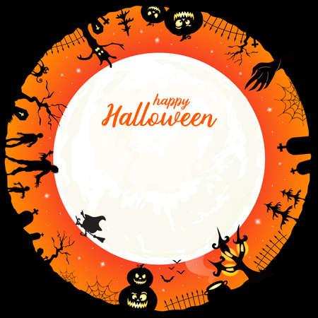 Happy Halloween message. Halloween element in circle design, illustration.