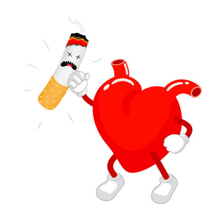Cute cartoon heart Fight with cigarette. Health care concept. Vector illustration isolated on white  background.