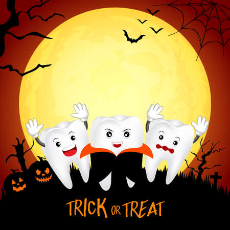 Fuuny cute cartoon tooth character. Dracula in moon night, happy Halloween concept. Design for banner, poster, greeting card. Illustration. Иллюстрация
