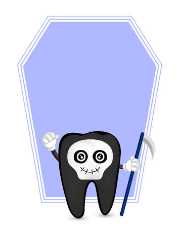 Cute cartoon tooth character. Skull devil, happy Halloween concept with frame. Illustration isolated on white background. Illustration