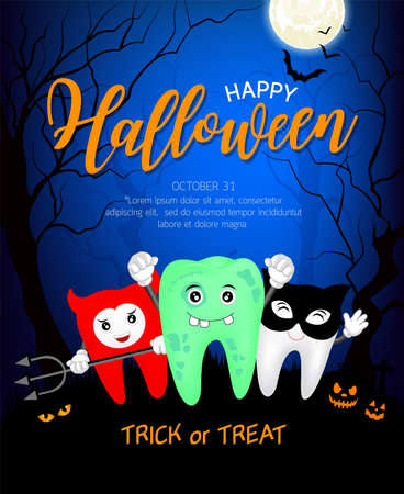 Fuuny cute cartoon tooth character. Zombie, devil and black cat in moon night, happy Halloween concept. Design for banner, poster, greeting card. Illustration. Ilustração