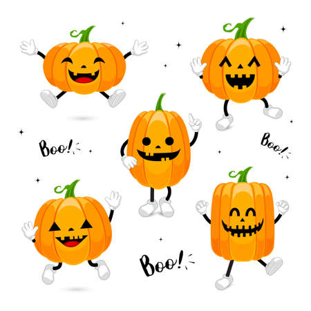 Set of cute cartoon pumpkin character design. Happy Halloween day concept. Illustration isolated on white background. Illustration
