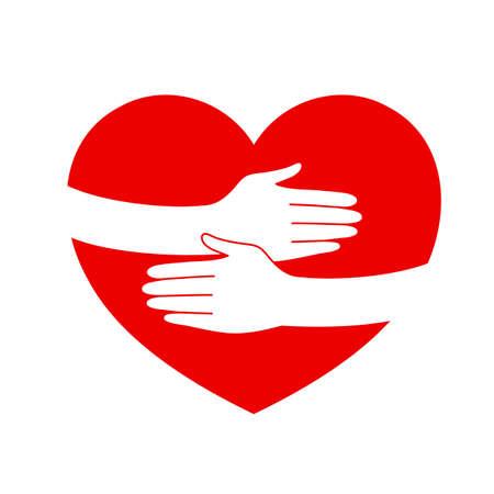 abrazar la mano en forma de corazón. Amor y cuidado concepto de diseño. Ilustración aislada en el fondo blanco.