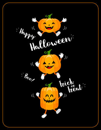 Cute cartoon pumpkin characters design. Happy Halloween day concept. Trick or treat. Illustration isolated on black background.